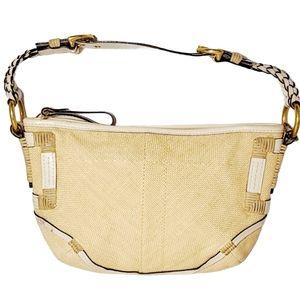 Vintage Coach Bag Angora Straw Leather Trim Should